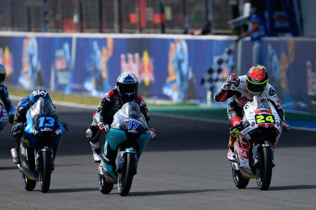 Tatsuki Suzuki (24), John McPhee (17), and Celestino Vietti (13) at the finish of the Moto3 race at Jerez II. Photo courtesy Dorna.