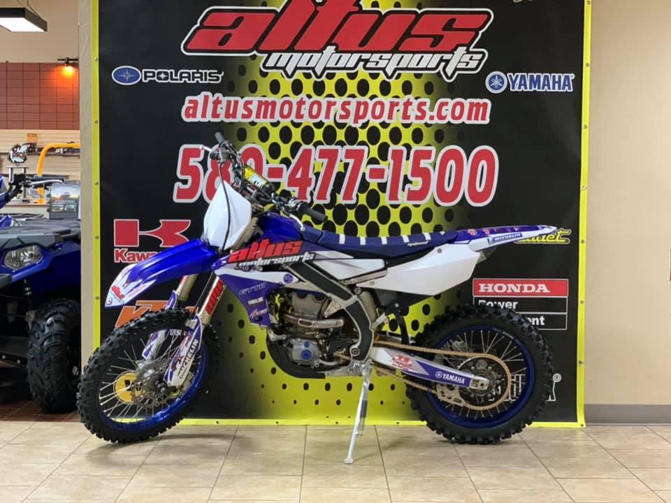 A Yamaha dirtbike in the showroom at Altus Motorsports, in Altus, Oklahoma. Photo courtesy Altus Motorsports.