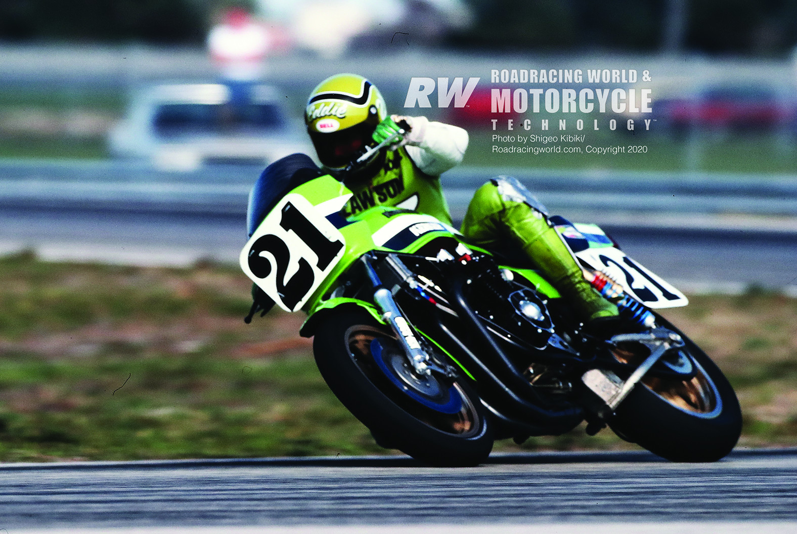 Eddie Lawson (21) riding a Kawasaki KZ1000 in an AMA Superbike race at Daytona in 1982. Photo by Shigeo Kibiki. Lawson's Superbike was the inspiration for the 1999 Kawasaki ZRX1100 being raffled by AHRMA.