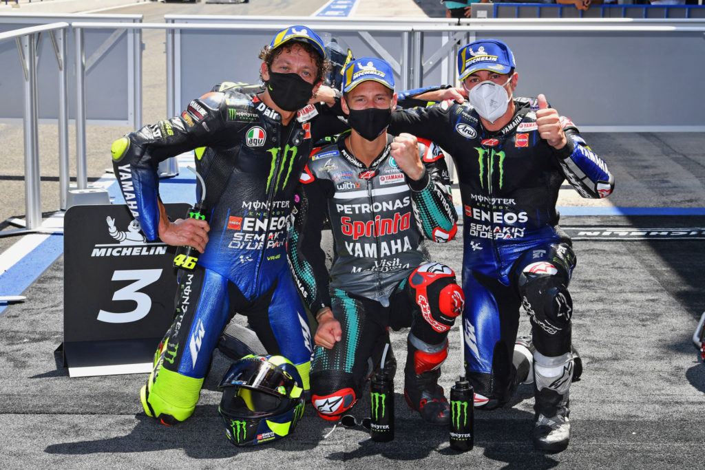 Race winner Fabio Quartararo (center), runner-up Maverick Vinales (right), and third-place finisher Valentino Rossi (left). Photo courtesy Michelin.