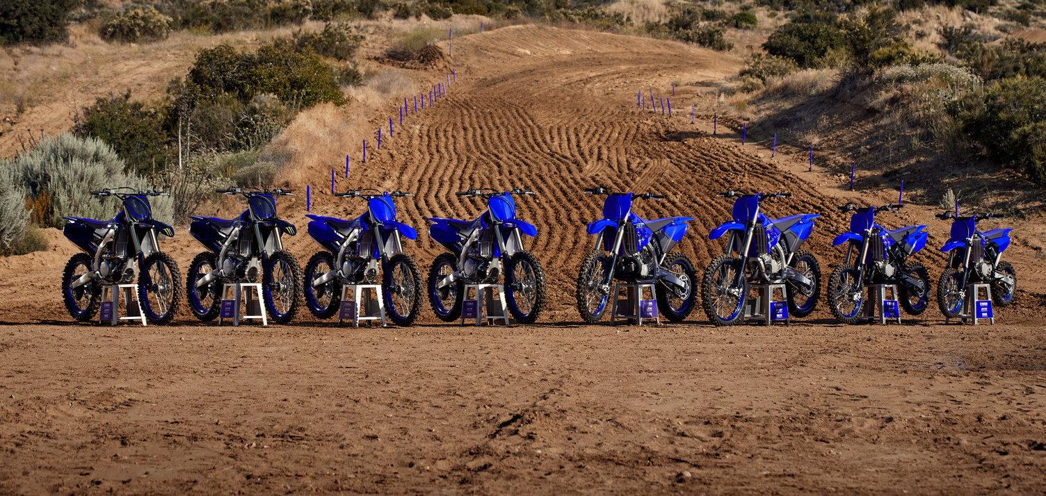Yamaha's 2021 lineup of YZ motocross models. Photo courtesy Yamaha Motor Corp., U.S.A.