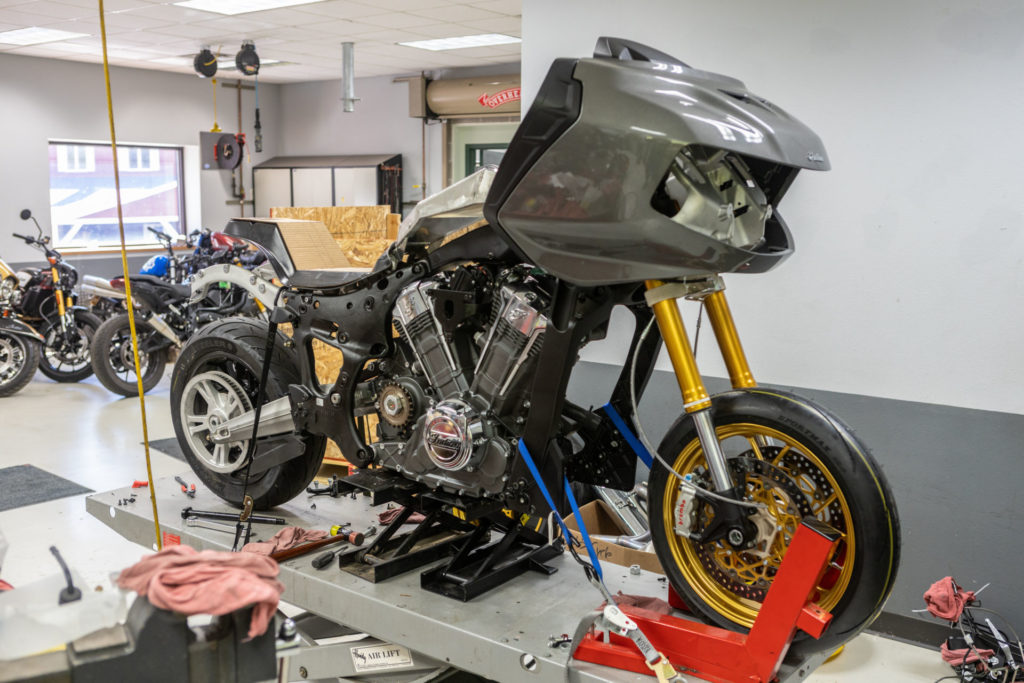 """Tyler O'Hara's S&S Cycle-backed Indian Challenger being transformed into a MotoAmerica """"King of the Baggers"""" racebike. Photo courtesy Indian Motorcycle."""
