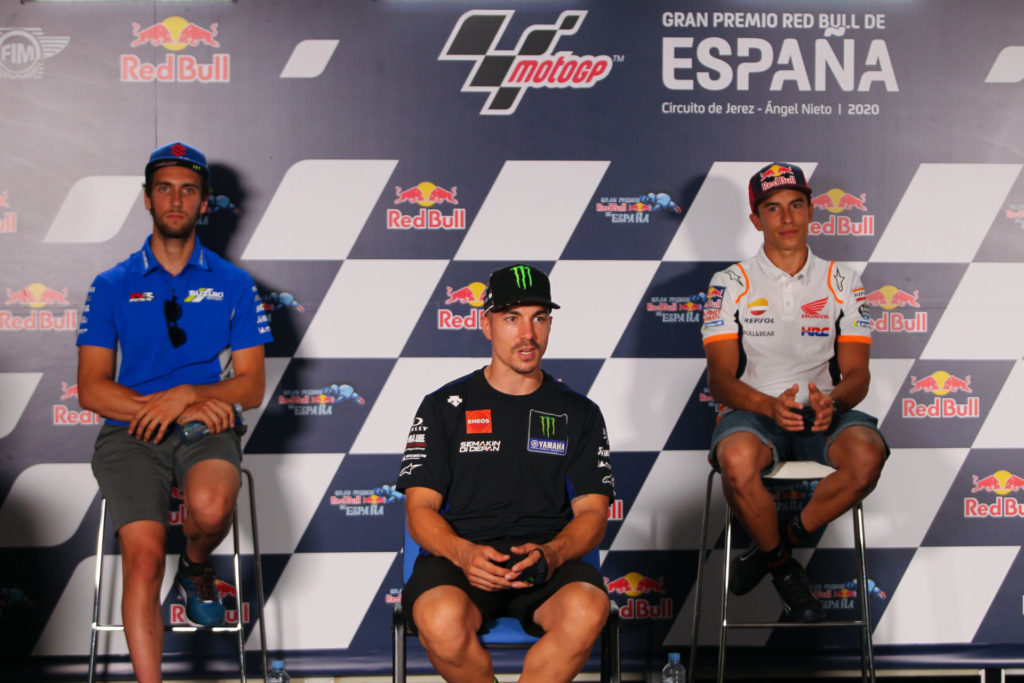 Alex Rins (left), Maverick Vinales (center), and Marc Marquez (right). Photo courtesy Dorna.