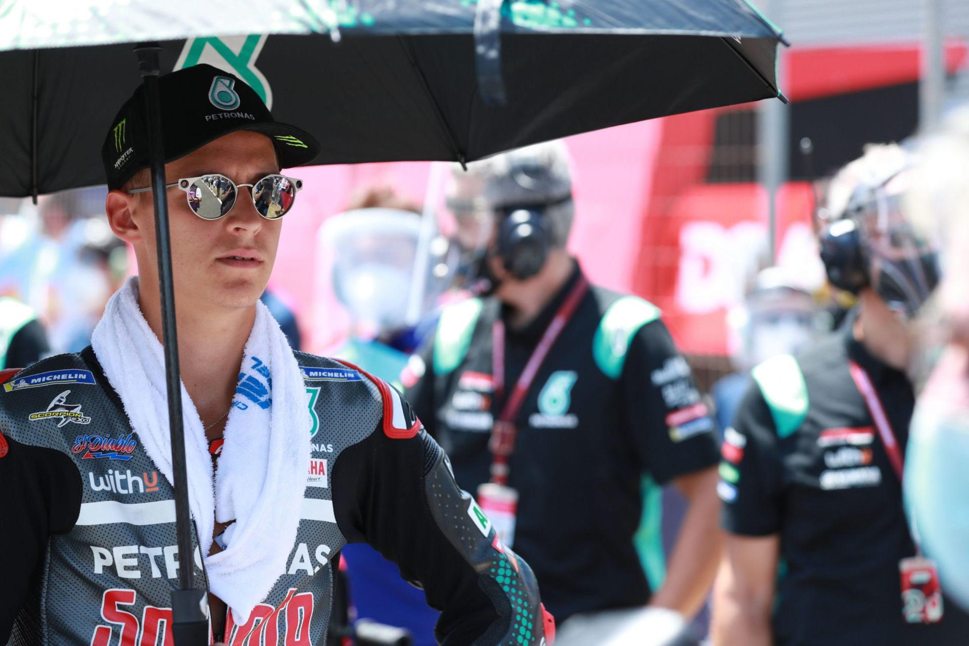 Fabio Quartararo on the grid at Jerez I. Photo courtesy PETRONAS Yamaha SRT.