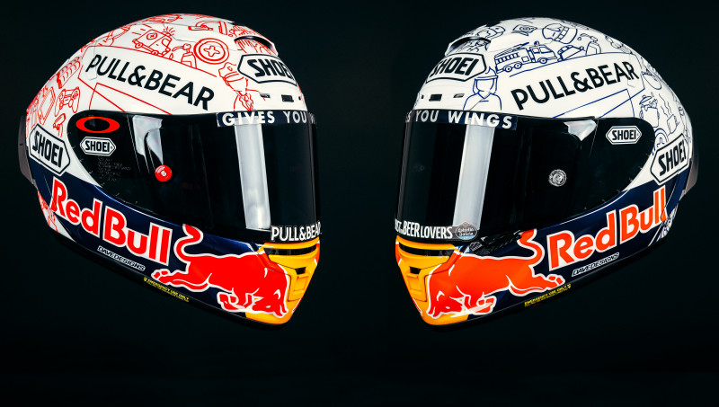 The custom helmets brothers Marc Marquez (left) and Alex Marquez (right) will wear at Jerez. Photo courtesy Repsol Honda.