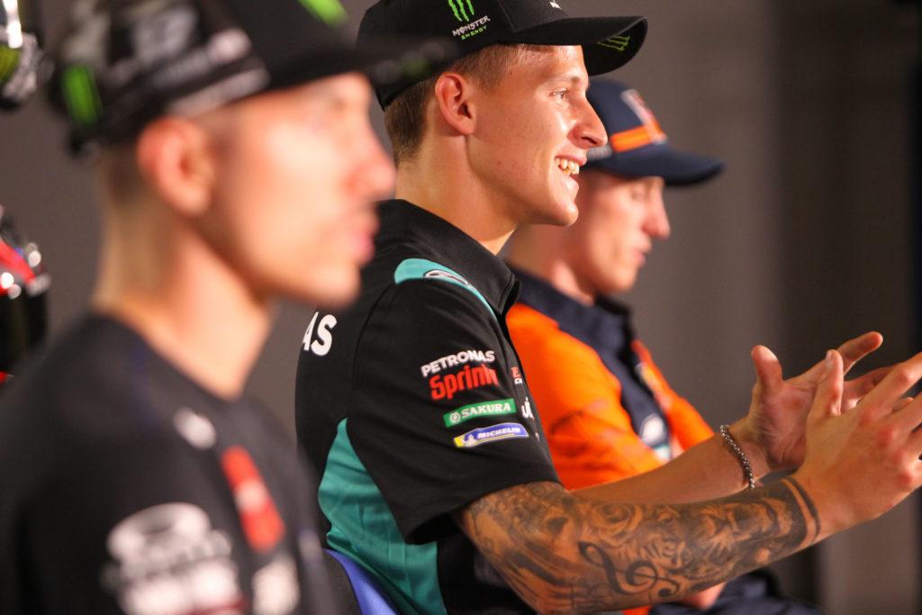 Maverick Vinales (left), Fabio Quartararo (center), and Pol Espargaro (right). Photo courtesy Dorna.