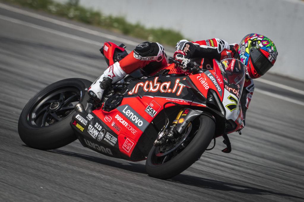 Chaz Davies (7) backs his Ducati into a corner during testing at Catalunya. Photo courtesy Ducati.