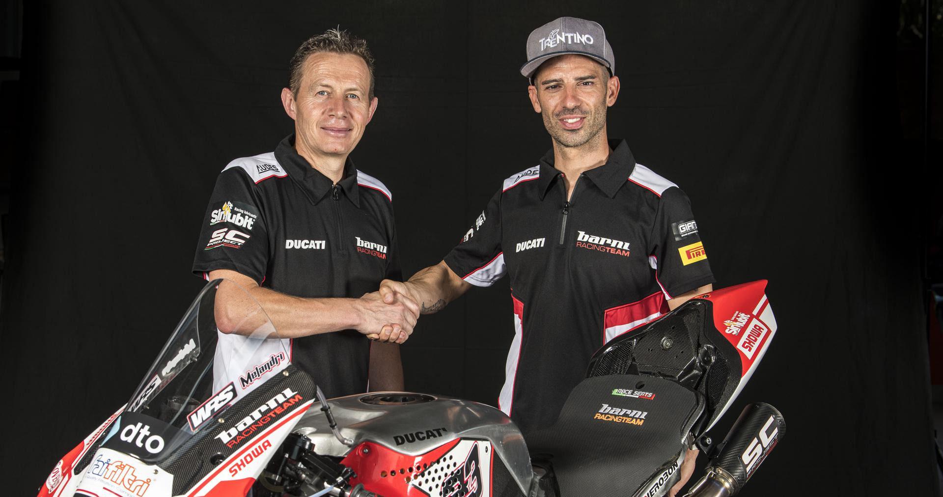 Barni Racing Team Owner Marco Barnabo (left) and Marco Melandri (right). Photo courtesy Barni Racing Team.