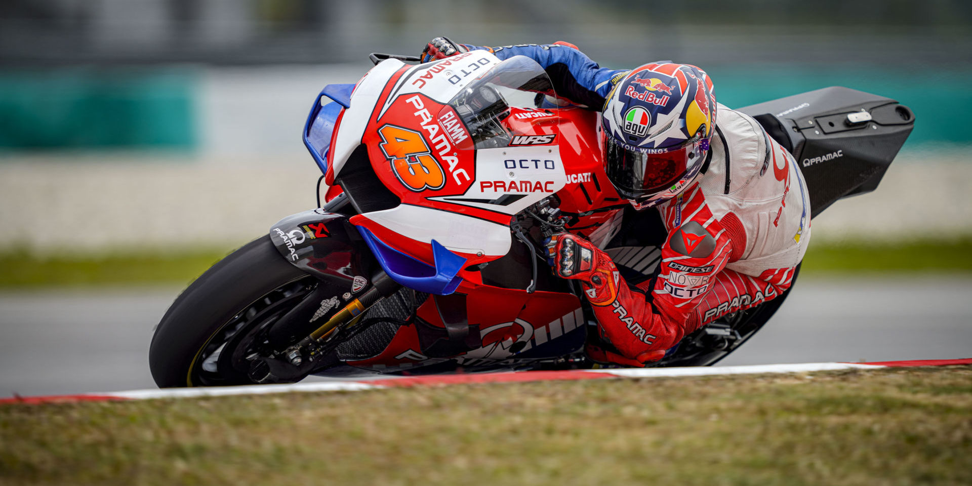 Jack Miller (43), seen here testing at Sepang in February 2020, rode a Ducati Panigale V4 R recently at Catalunya. Photo courtesy Pramac Racing.