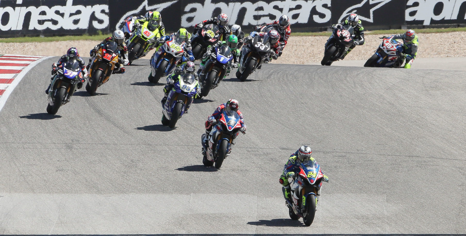 The start of MotoAmerica Superbike Race Two at COTA in 2019. Photo by Brian J. Nelson, courtesy MotoAmerica.