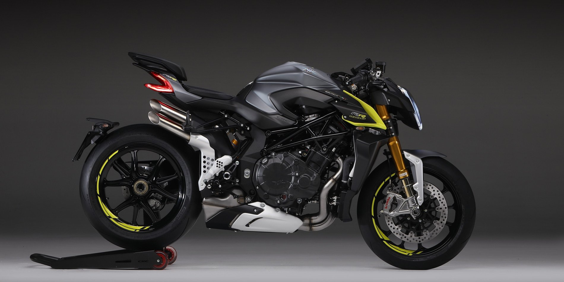 Solid and compact in appearance, the MV Agusta Brutale 1000 RR is packed with high-end components from Brembo, Ohlins and Bosch. Photo courtesy MV Agusta.