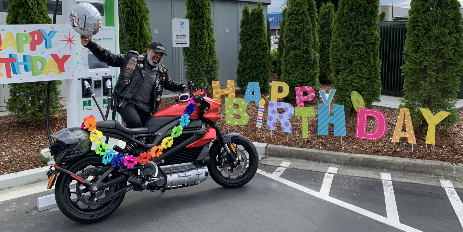 Diego Cardenas celebrated his 50th birthday, and made history, by riding his customized electric Harley-Davidson from the U.S. Mexican border to the U.S. Canadian border last week. Photo courtesy Harley-Davidson.