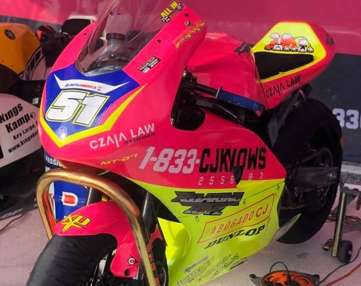 Kaleb De Keyrel's Yamaha MT-07 at rest in the pits at Road Atlanta. Photo courtesy Kaleb De Keyrel.