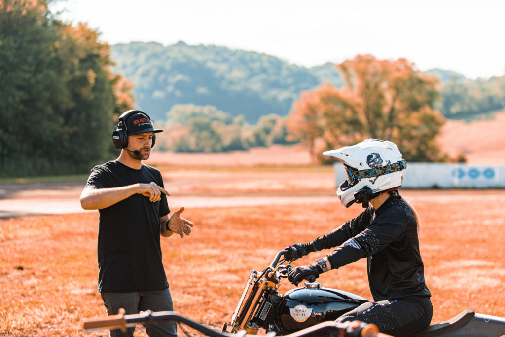Johnny Lewis (left) working with Melissa Paris (right). Photo courtesy Royal Enfield North America.