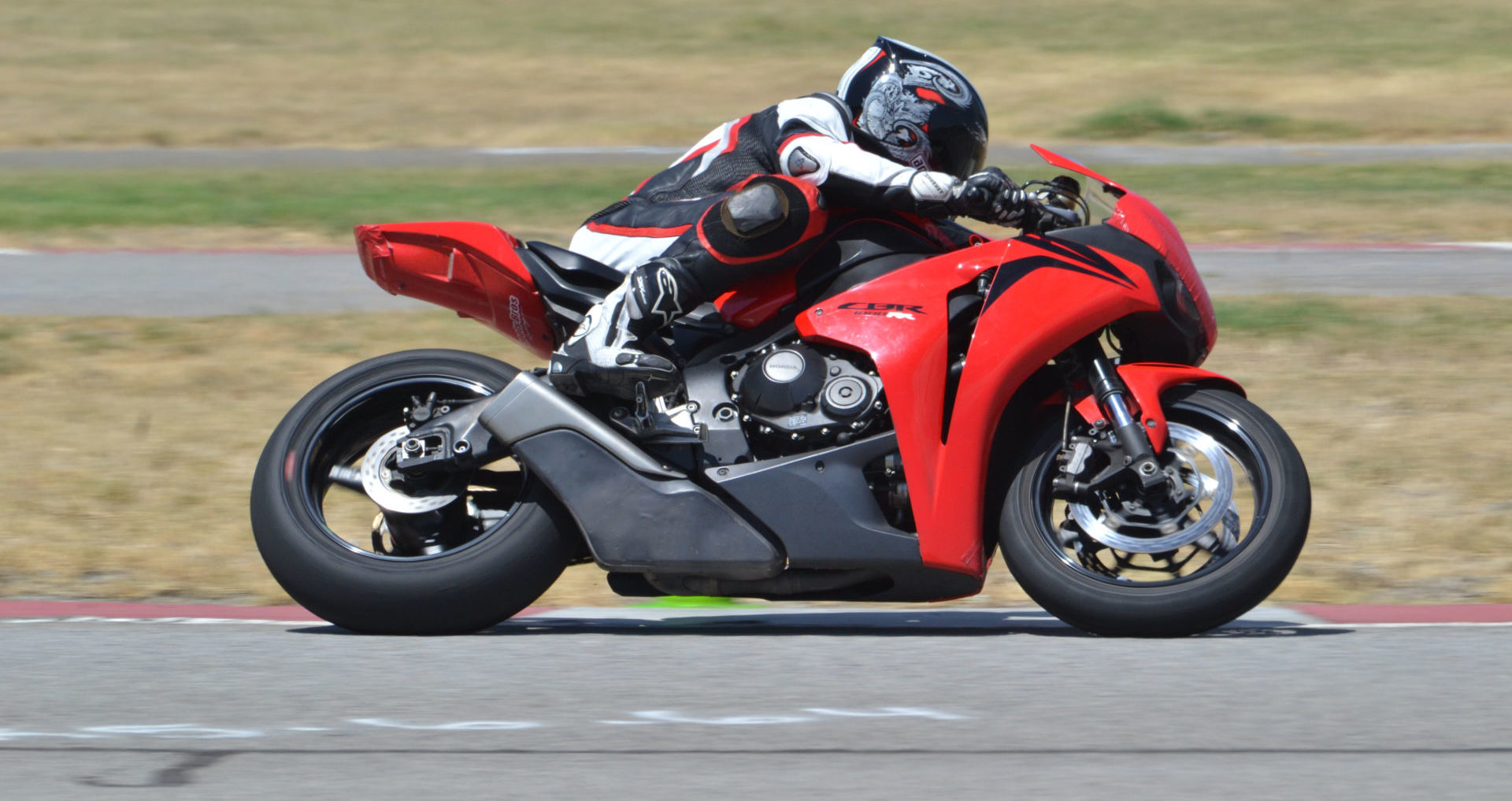 A rider participating in a track day at Auto Club Speedway, in Fontana, California. Photo by David Swarts.