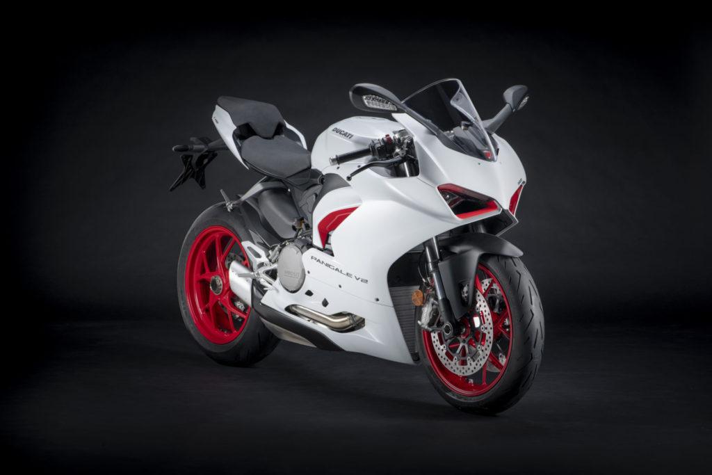 A Ducati Panigale V2 in White Rosso livery. Photo courtesy Ducati.