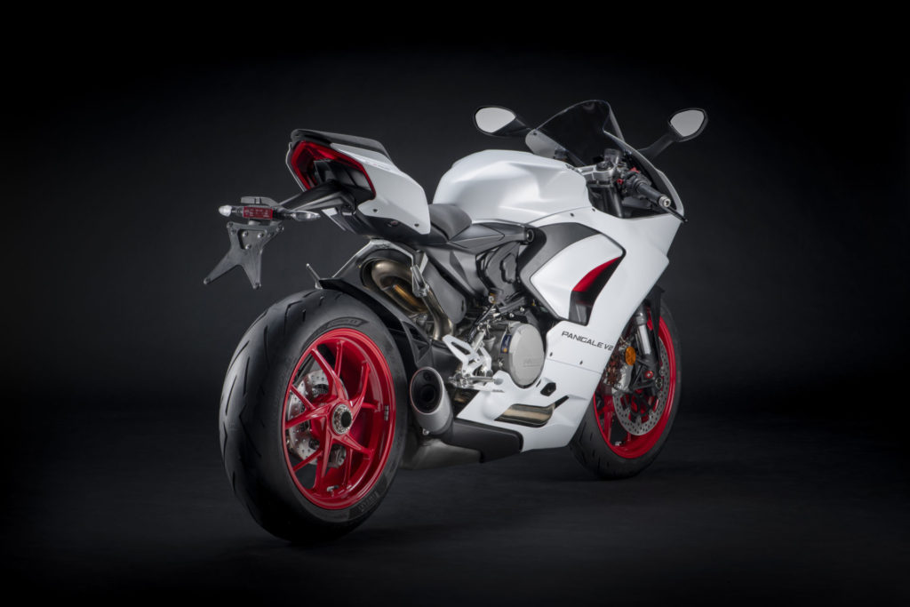 A rear shot of a Ducati Panigale V2 in White Rosso livery. Photo courtesy Ducati.