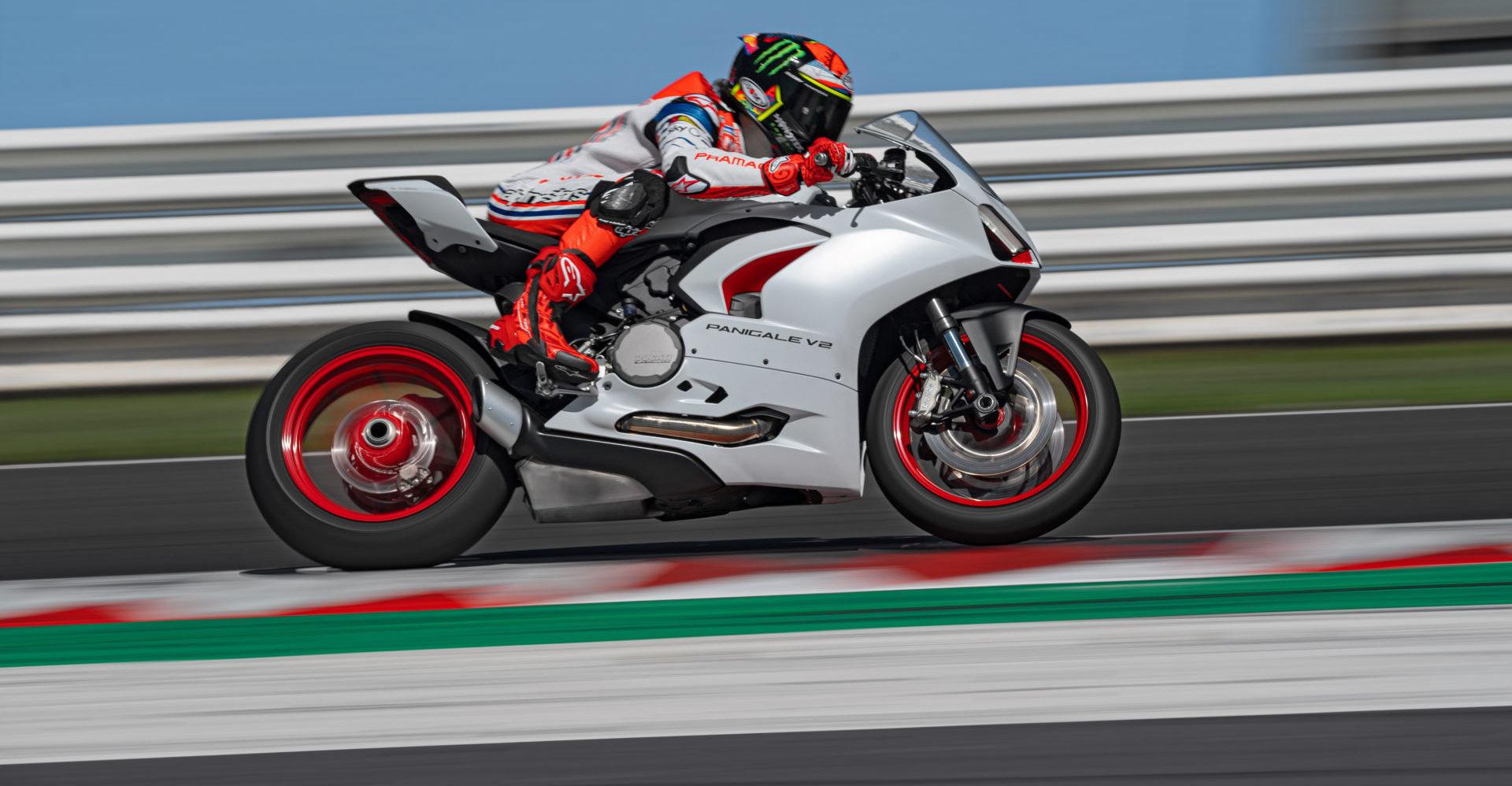 Francesco Bagnaia at speed on a Ducati Panigale V2 White Rosso at Misano. Photo courtesy Ducati.