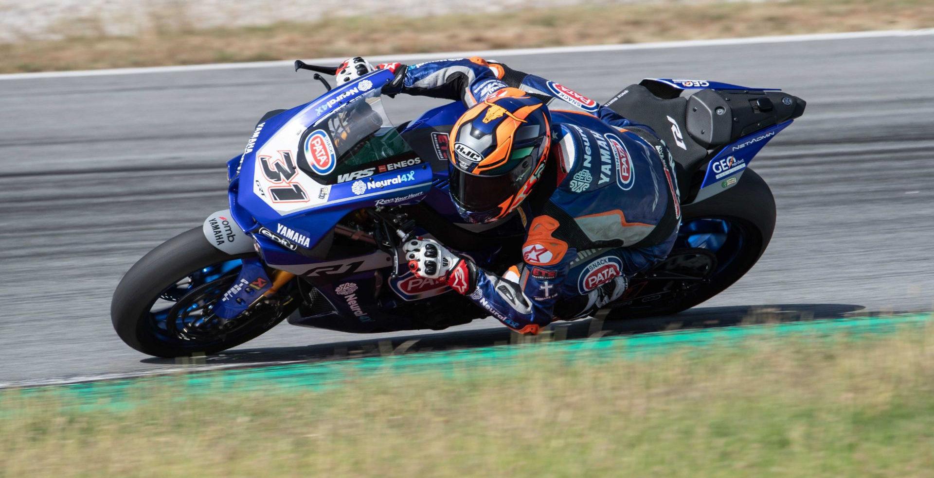 Garrett Gerloff (31), as seen during testing at the Catalunya Circuit. Photo courtesy Yamaha.