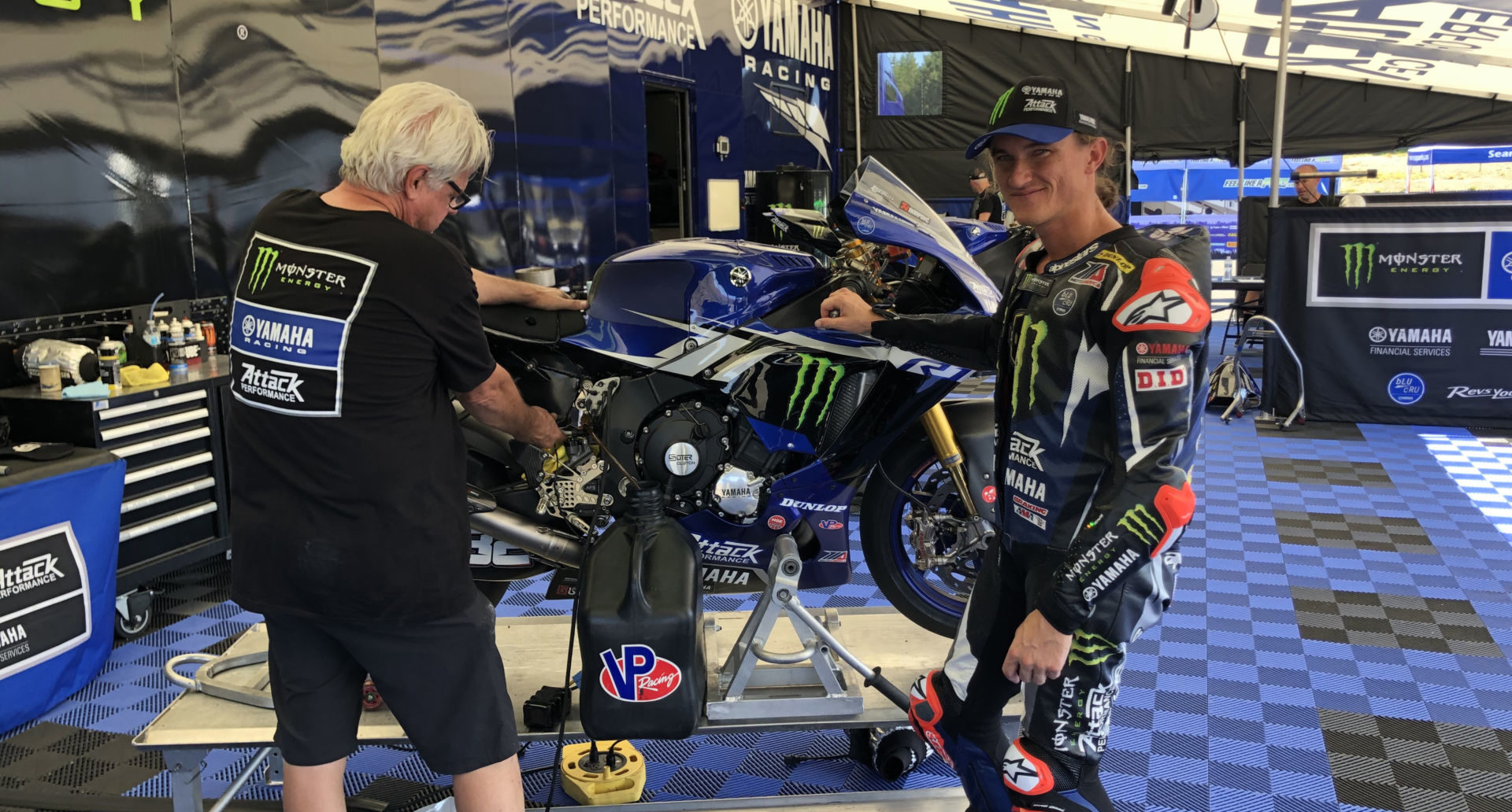 Monster Energy Attack Performance Yamaha rider Jake Gagne (right) with mechanic Mike Canfield (left) at Ridge Motorsports Park.