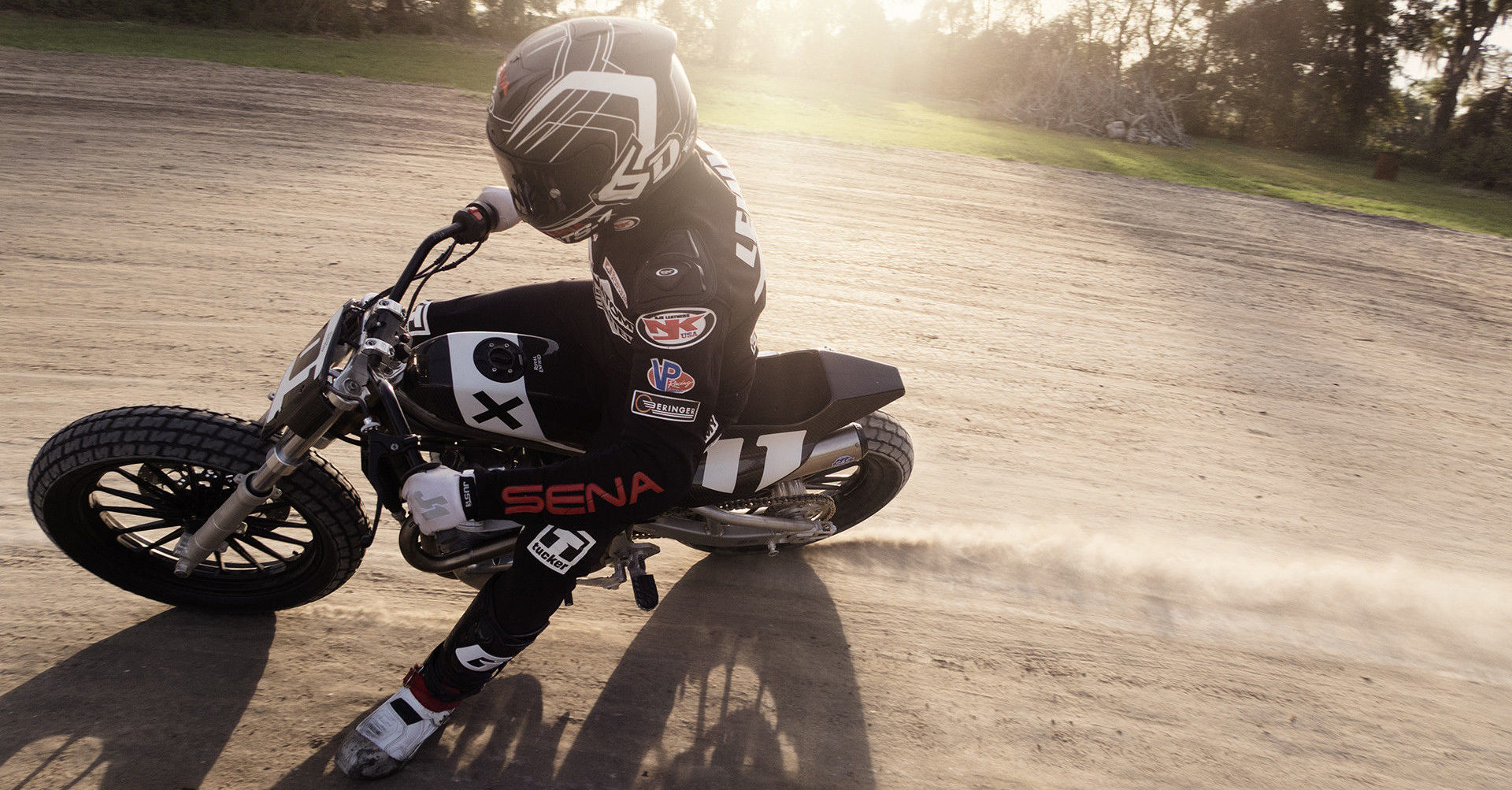 Johnny Lewis in action on his Royal Enfield FT flat track racebike. Photo courtesy Royal Enfield North America.