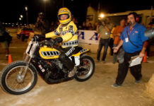 King Kenny Roberts heading out on track at the Indy Mile on a Yamaha TZ750-powered dirt tracker in 2009. Photo courtesy Yamaha.