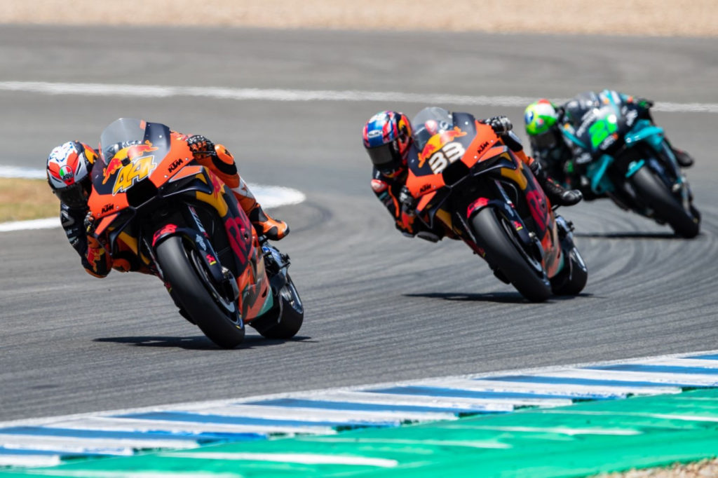 Pol Espargaro (44), Brad Binder (33), and Franco Morbidelli (21). Photo courtesy Red Bull KTM.
