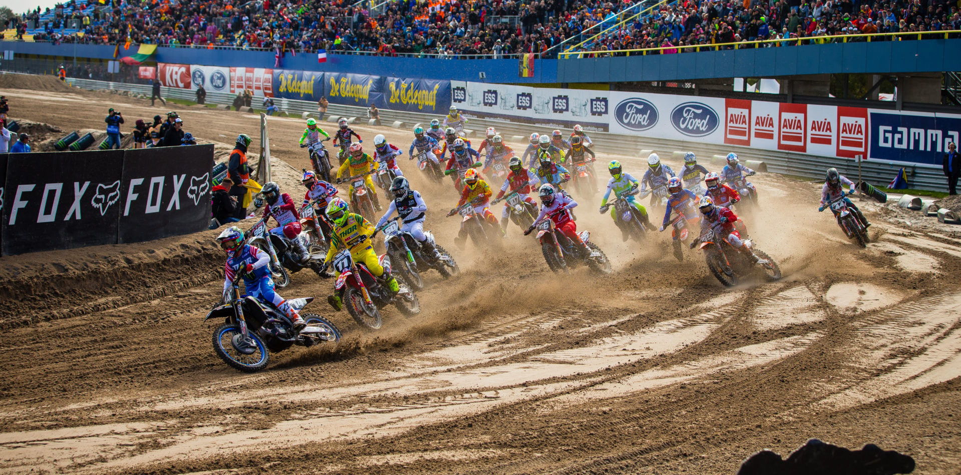 The start of a moto at the 2019 FIM Motocross of Nations at TT Circuit Assen. Photo by Jeff Kardas, courtesy AMA.
