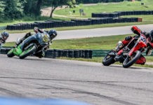 Matt Lamb (5) won both Supermoto Expert races and Will Moore, Jr. (802) won both Superbike 390 Expert races at the Motogladiator round July 5 at VIR Patriot course. Photo by Joshua Barnett/Apex Pro Photo, courtesy Motogladiator.