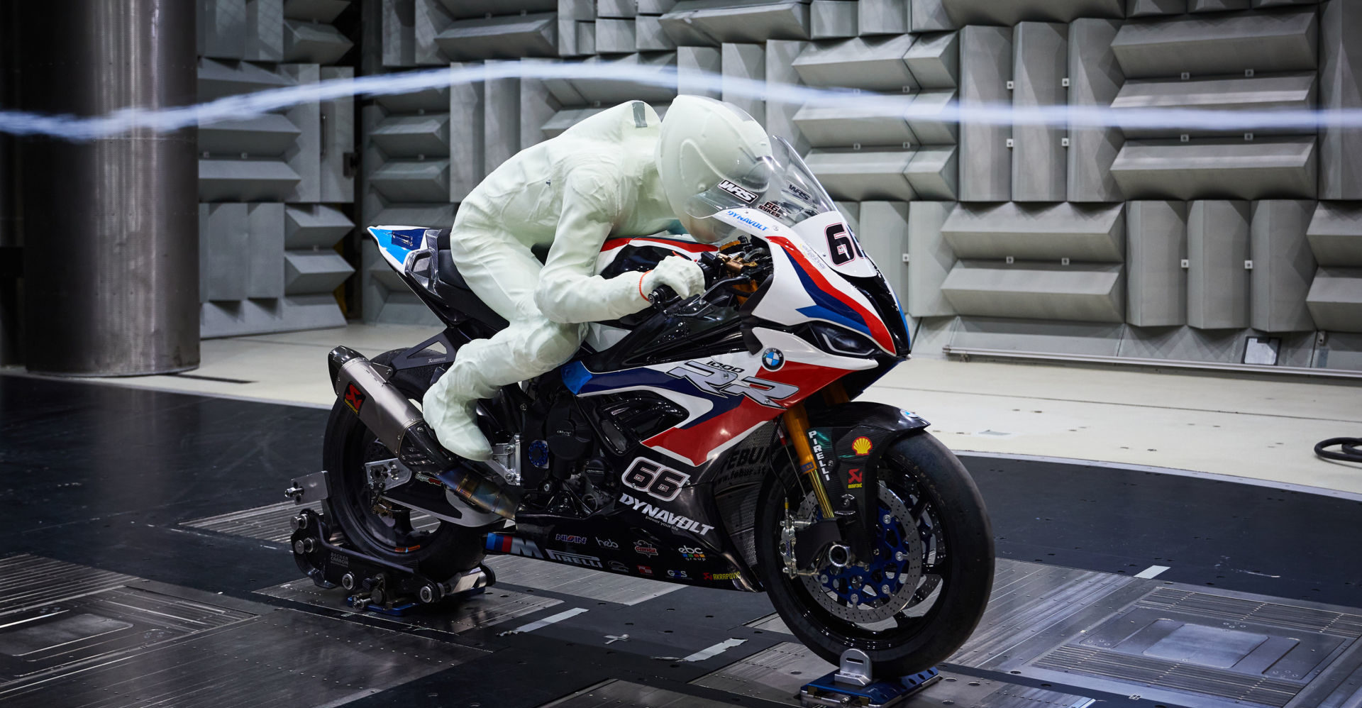 A 3D model of Eugene Laverty on one of Tom Sykes' BMW S1000RR Superbikes in BMW's wind tunnel in Germany. Photo courtesy BMW Motorrad Motorsport.
