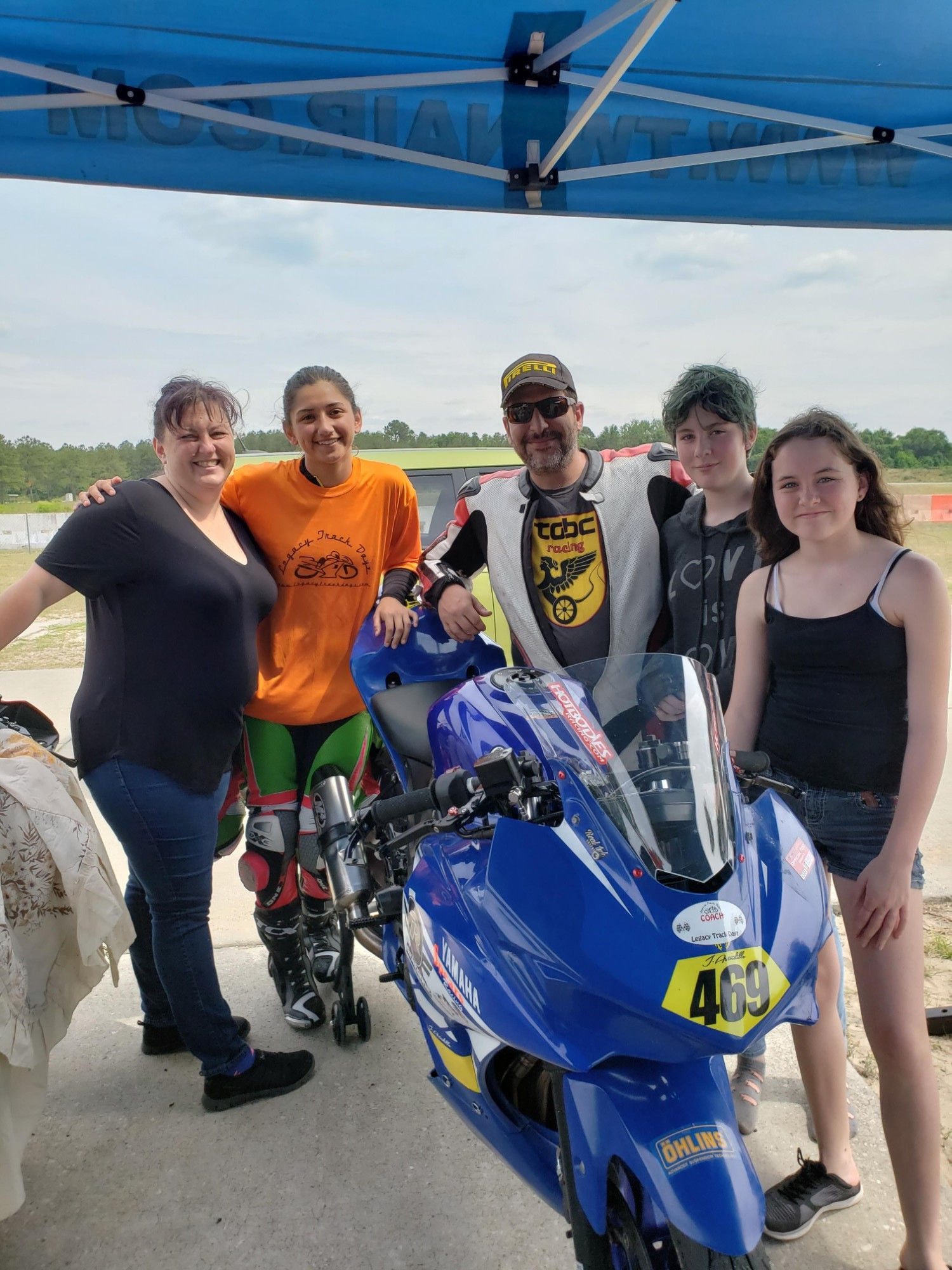 Legacy Track Dayz owners CJ Cohen (center) and Jenni Cohen (far left) with their daughters (far right) and racer Jamie Astudillo (second from left). Photo courtesy Legacy Track Dayz.