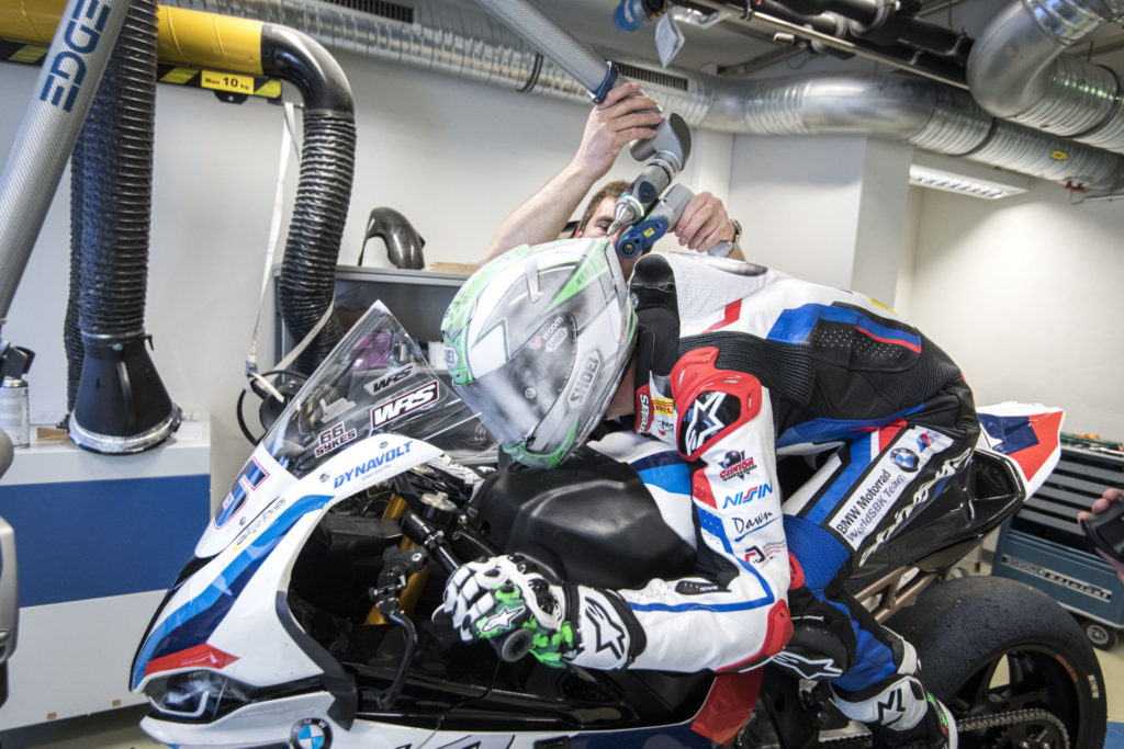 Eugene Laverty being measured and scanned to create a 3D model of himself for wind tunnel testing. Photo courtesy BMW Motorrad Motorsport.