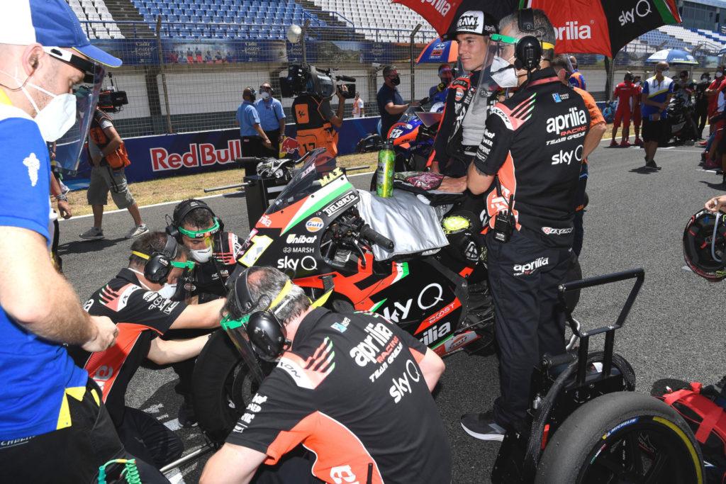 Aleix Espargaro on the grid at Jerez. Photo courtesy Aprilia Gresini Racing.