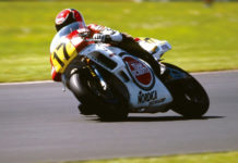 Wayne Rainey (17) at speed on a Team Roberts Yamaha in 1988. Photo courtesy Yamaha.