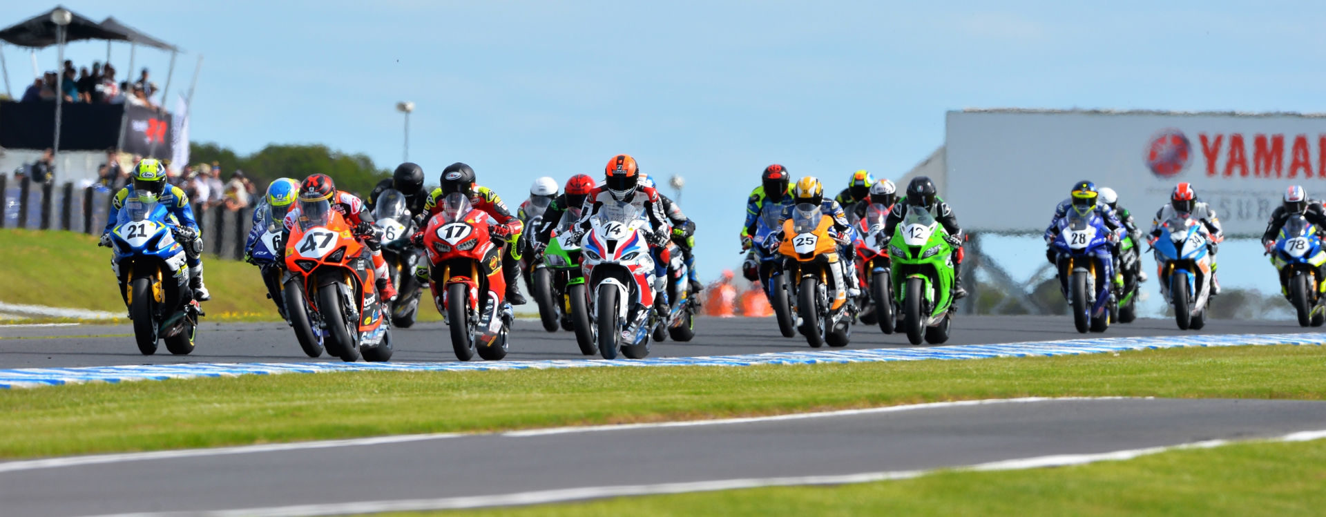 The start of an Australian Superbike race at Phillip Island in February. Photo courtesy Motorcycling Australia.