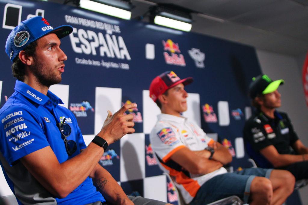 Alex Rins (left), Marc Marquez (center), Valentino Rossi (right).  Photo courtesy Dorna.
