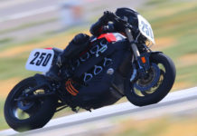 Hanni Burger (250) on an electric motorcycle at an AHRMA race. Photo by etechphoto.com, courtesy AHRMA.