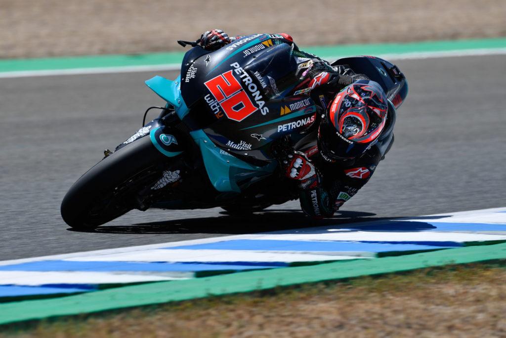 Fabio Quartararo (20) at Jerez. Photo courtesy Dorna/www.motogp.com.