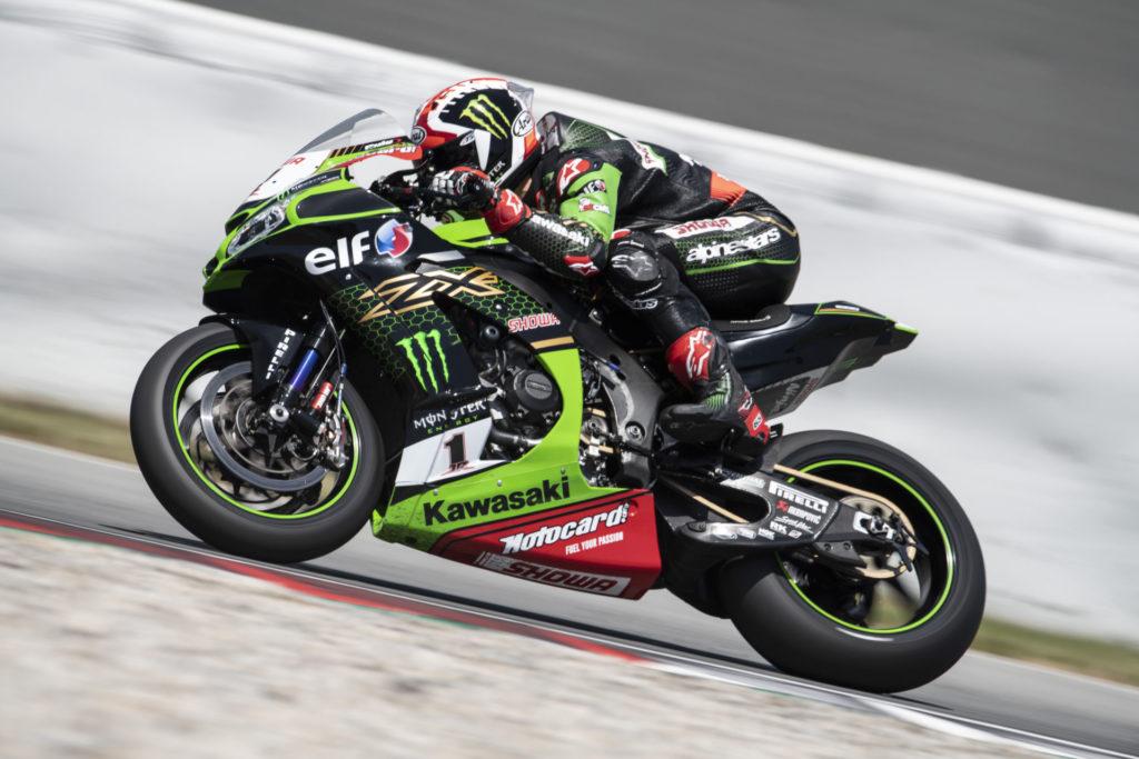 Jonathan Rea (1) testing at Catalunya. Photo courtesy Kawasaki.