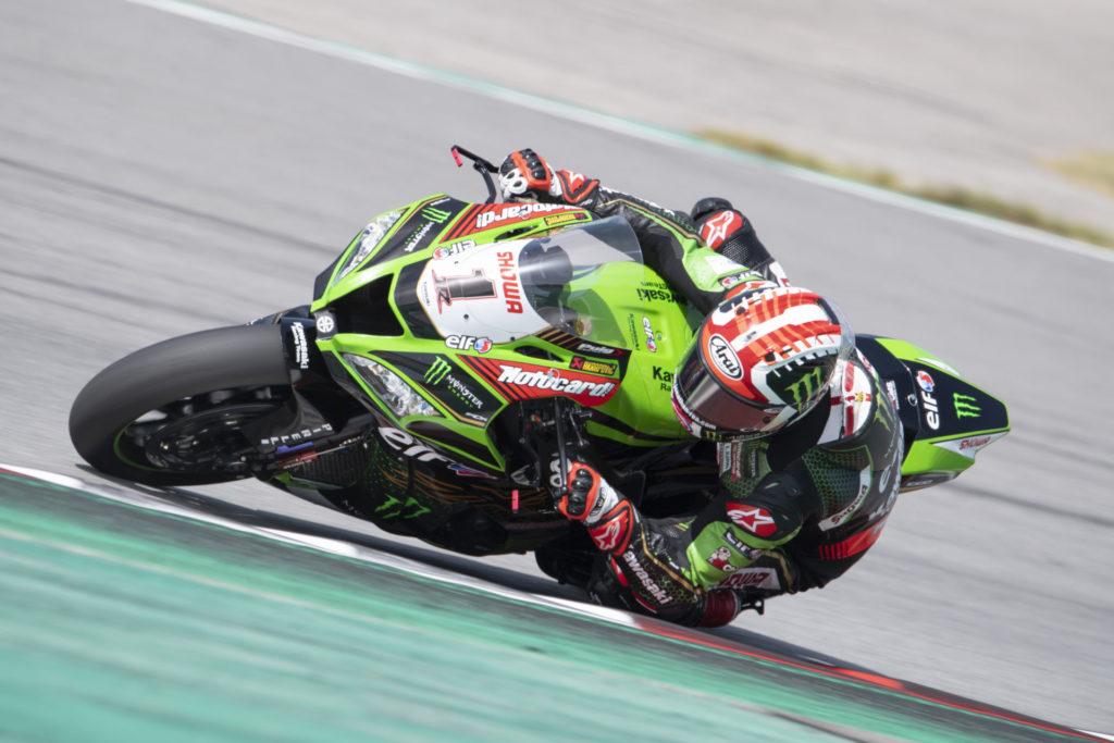 Jonathan Rea (1) during testing at Catalunya. Photo courtesy Kawasaki.