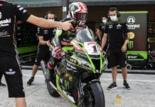 Jonathan Rea (1) and team as seen during a recent World Superbike test at Misano. Photo courtesy Kawasaki.
