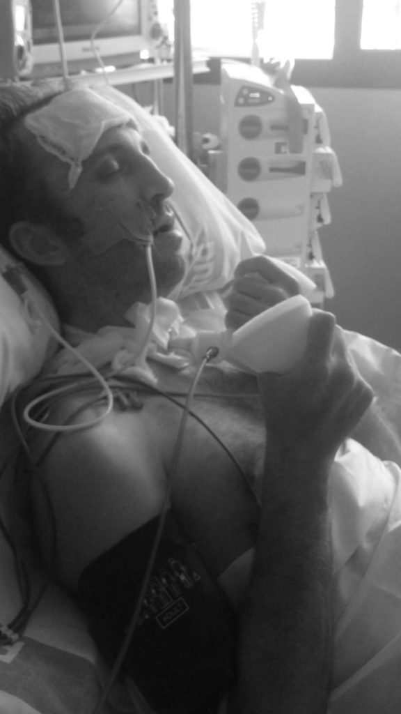 Kenny Noyes, post-accident and in a coma in a Spanish hospital. Photo courtesy Kenny Noyes.