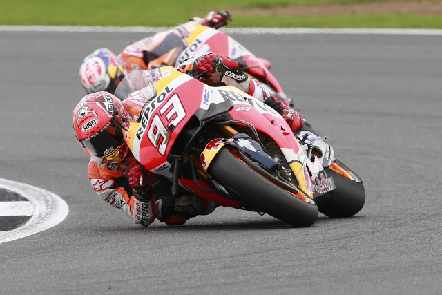 Marc Marquez in action at Silverstone in 2016. Photo courtesy Honda Pro Racing.