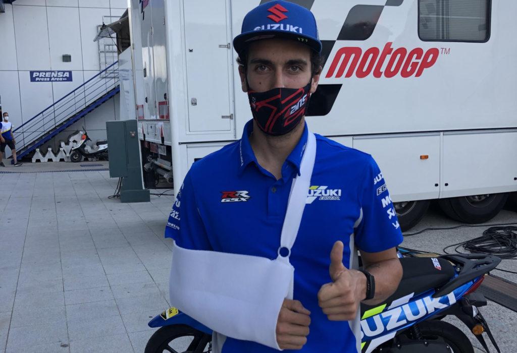 Injured Alex Rins at Jerez. Photo courtesy Team Suzuki Press Office.
