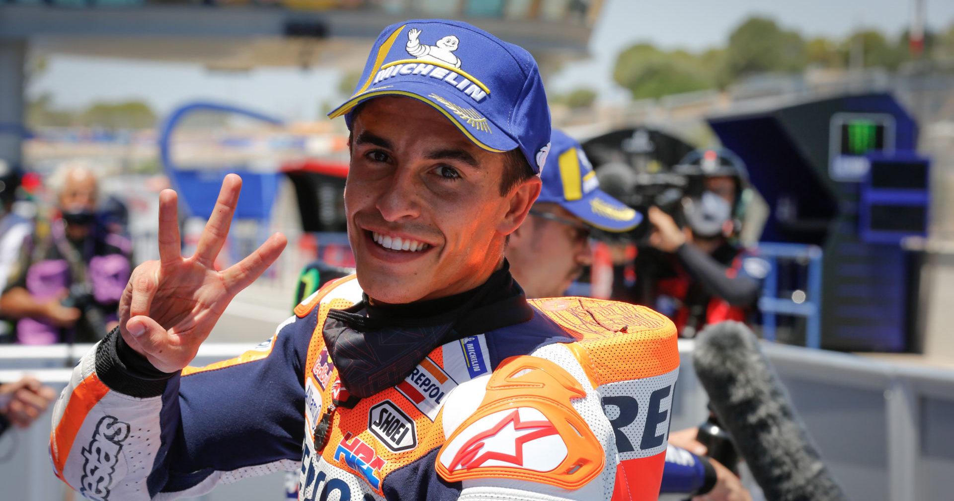 Marc Marquez, after qualifying July 18 at Jerez. Photo courtesy Repsol Honda.
