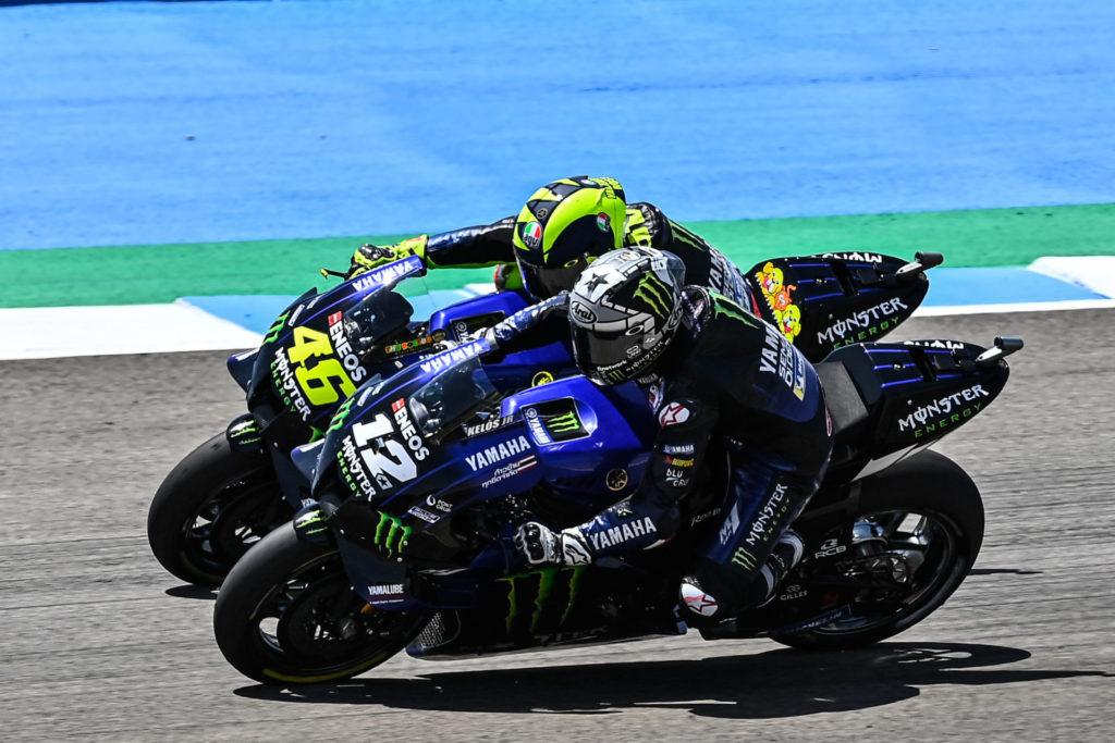 Maverick Vinales (12) and Valentino Rossi (46). Photo courtesy Monster Energy Yamaha.