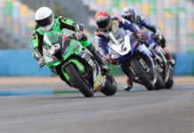 Valentin Debise (153) leads Jonas Folger (4) and Mathieu Gines (behind Folger) at Magny-Cours. Photo courtesy Valentin Debise.