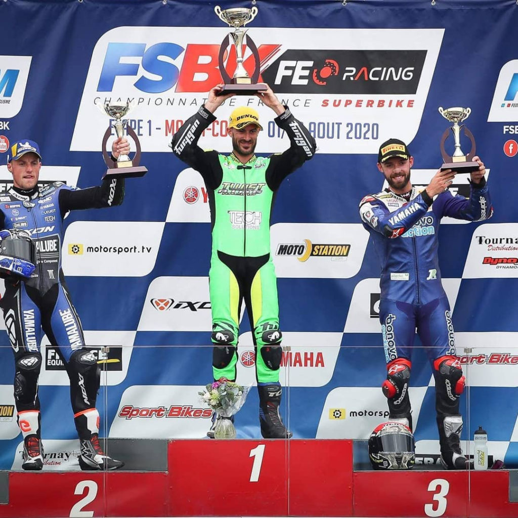 Valentin Debise (center), runner-up Mattieu Gines (left) and third-place finisher Jonas Folger on the podium at Magny-Cours. Photo courtesy Valentin Debise.