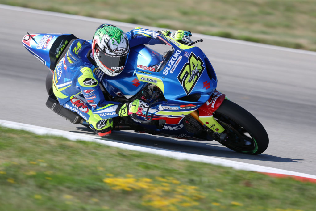 Toni Elias (24) delivered a pair of top five finishes in Pittsburgh on his GSX-R1000. Photo by Brian J. Nelson, courtesy Suzuki Motor of America, Inc.