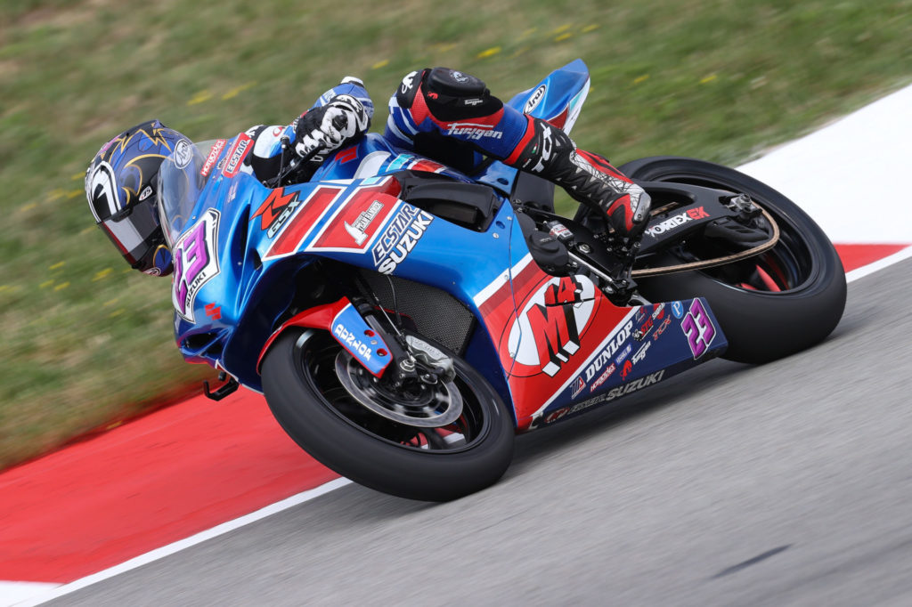 Lucas Silva (23) continued his run of top-ten finishes in Supersport. Photo by Brian J. Nelson, courtesy Suzuki Motor of America, Inc.